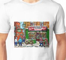 VINTAGE MONTREAL ARENA BAKERY SNOWY DAY FUN PLAYING STREET HOCKEY Unisex T-Shirt