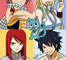Fairy Tail WITH NAMES Erza, Gray, Natsu, Lucy & Happy by Under The  Horizon