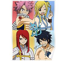 Fairy Tail WITH NAMES Erza, Gray, Natsu, Lucy & Happy Poster