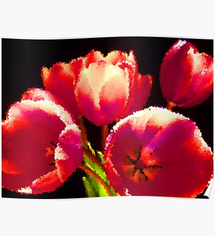 Painting Tulips. Poster