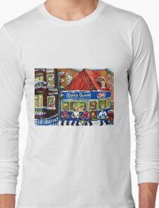 HOCKEY TOWN MONTREAL WINTER STREET SCENES KIDS PLAYING HOCKEY NEAR DAIRY QUEEN Long Sleeve T-Shirt
