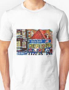 HOCKEY TOWN MONTREAL WINTER STREET SCENES KIDS PLAYING HOCKEY NEAR DAIRY QUEEN T-Shirt