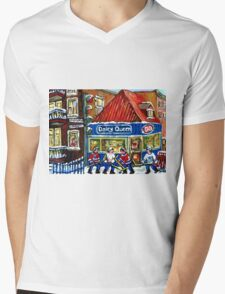 HOCKEY TOWN MONTREAL WINTER STREET SCENES KIDS PLAYING HOCKEY NEAR DAIRY QUEEN Mens V-Neck T-Shirt