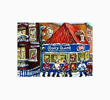 HOCKEY TOWN MONTREAL WINTER STREET SCENES KIDS PLAYING HOCKEY NEAR DAIRY QUEEN Unisex T-Shirt