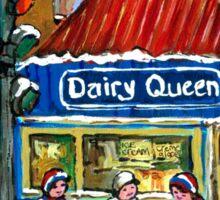 HOCKEY TOWN MONTREAL WINTER STREET SCENES KIDS PLAYING HOCKEY NEAR DAIRY QUEEN Sticker