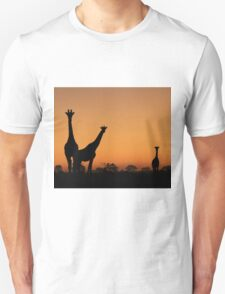 Giraffe Silhouette - African Wildlife Background - Grace and Elegance T-Shirt