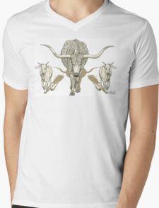 Momma Longhorn & Babies Mens V-Neck T-Shirt
