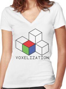 Pixel 3D Voxelization Nerd Computer Graphic Render Women's Fitted V-Neck T-Shirt