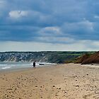 Fat Bloke on Beach, Hunmanby Gap, North Yorkshire by Thomas Tolkien