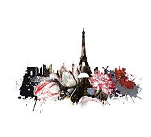 Paris skyline flower Photographic Print
