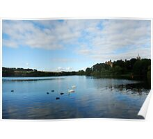 Linlithgow Loch with view of Palace Poster
