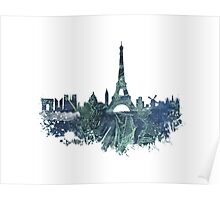 Paris skyline blue street Poster