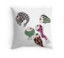 Silly little fish Throw Pillow