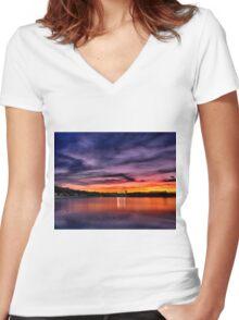 Sun dusk over Boston College  Women's Fitted V-Neck T-Shirt