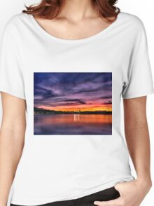 Sun dusk over Boston College  Women's Relaxed Fit T-Shirt
