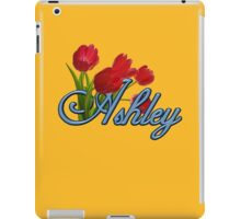 Ashley With Red Tulips and Cobalt Blue Script iPad Case/Skin