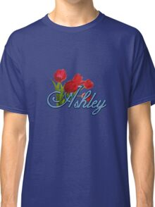 Ashley With Red Tulips and Cobalt Blue Script Classic T-Shirt