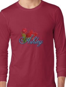 Ashley With Red Tulips and Cobalt Blue Script Long Sleeve T-Shirt