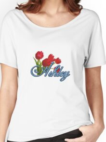 Ashley With Red Tulips and Cobalt Blue Script Women's Relaxed Fit T-Shirt