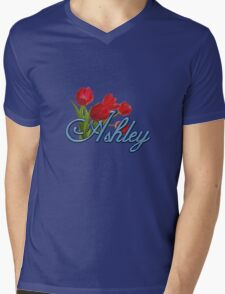 Ashley With Red Tulips and Cobalt Blue Script T-Shirt