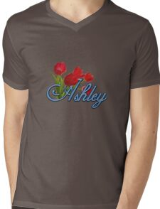 Ashley With Red Tulips and Cobalt Blue Script Mens V-Neck T-Shirt
