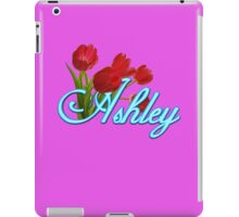 Ashley With Red Tulips and Neon Blue Script iPad Case/Skin