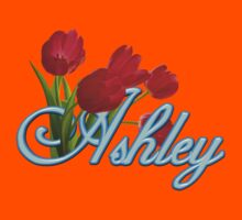Ashley With Red Tulips and Neon Blue Script by ThePixelFrame