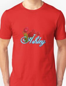 Ashley With Red Tulips and Neon Blue Script T-Shirt