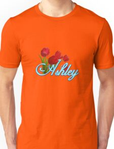Ashley With Red Tulips and Neon Blue Script Unisex T-Shirt