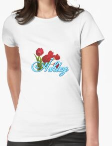 Ashley With Red Tulips and Neon Blue Script Womens Fitted T-Shirt