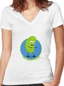 Mr Happy Pickle Women's Fitted V-Neck T-Shirt