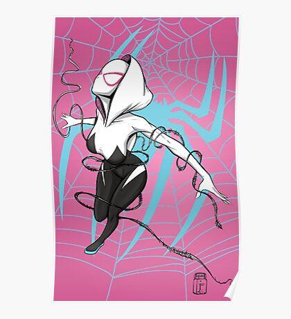 Spider-Gwen with Pink Background Poster