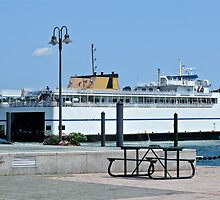 Ferry MV John Arrives at New London on the Thames River by Jack McCabe