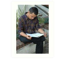 reading a book Art Print