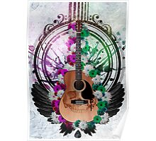 Acoustic Guitar framed amongst flowers, paint drips and wings  Poster
