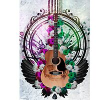 Acoustic Guitar framed amongst flowers, paint drips and wings  Photographic Print