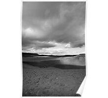 Viti Eruption Crater, Krafla, Mývatn, Iceland - Black & White Poster