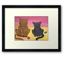 The Kitties and Their Toys Framed Print