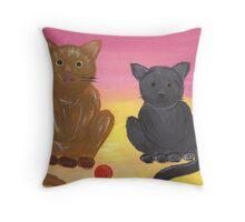 The Kitties and Their Toys Throw Pillow