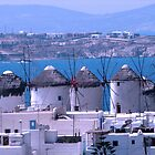 Mykonos windmills by Dale Lockridge