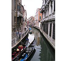 Venetian canal with gondolas Photographic Print