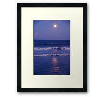 Full Moon over the Ocean Framed Print