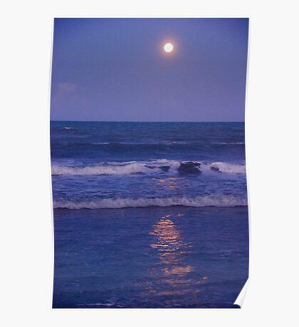 Full Moon over the Ocean Poster