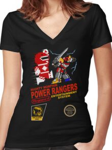8-bit Power Rangers Women's Fitted V-Neck T-Shirt