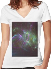 The Amount of Fruity Loops Consumed in a Lifetime as Meteors | Fractal Starscape Women's Fitted V-Neck T-Shirt