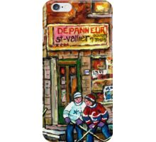 CANADIAN PAINTING DEPANNEUR IN WINTER WITH HOCKEY iPhone Case/Skin