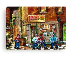 CANADIAN PAINTING DEPANNEUR IN WINTER WITH HOCKEY Canvas Print