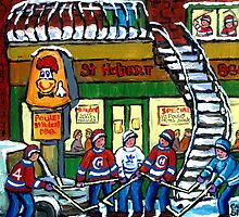 POULET ST.HUBERT BBQ RESTAURANT MONTREAL WITH STREET HOCKEY CANADIAN ART by Carole  Spandau