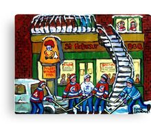 POULET ST.HUBERT BBQ RESTAURANT MONTREAL WITH STREET HOCKEY CANADIAN ART Canvas Print