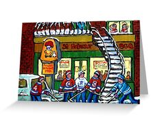 POULET ST.HUBERT BBQ RESTAURANT MONTREAL WITH STREET HOCKEY CANADIAN ART Greeting Card